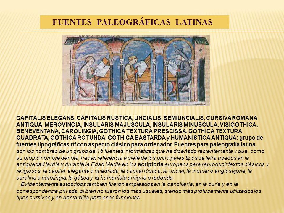 CAPITALIS ELEGANS, CAPITALIS RUSTICA, UNCIALIS, SEMIUNCIALIS, CURSIVA ROMANA ANTIQUA, MEROVINGIA, INSULARIS MAJUSCULA, INSULARIS MINUSCULA, VISIGOTHIC