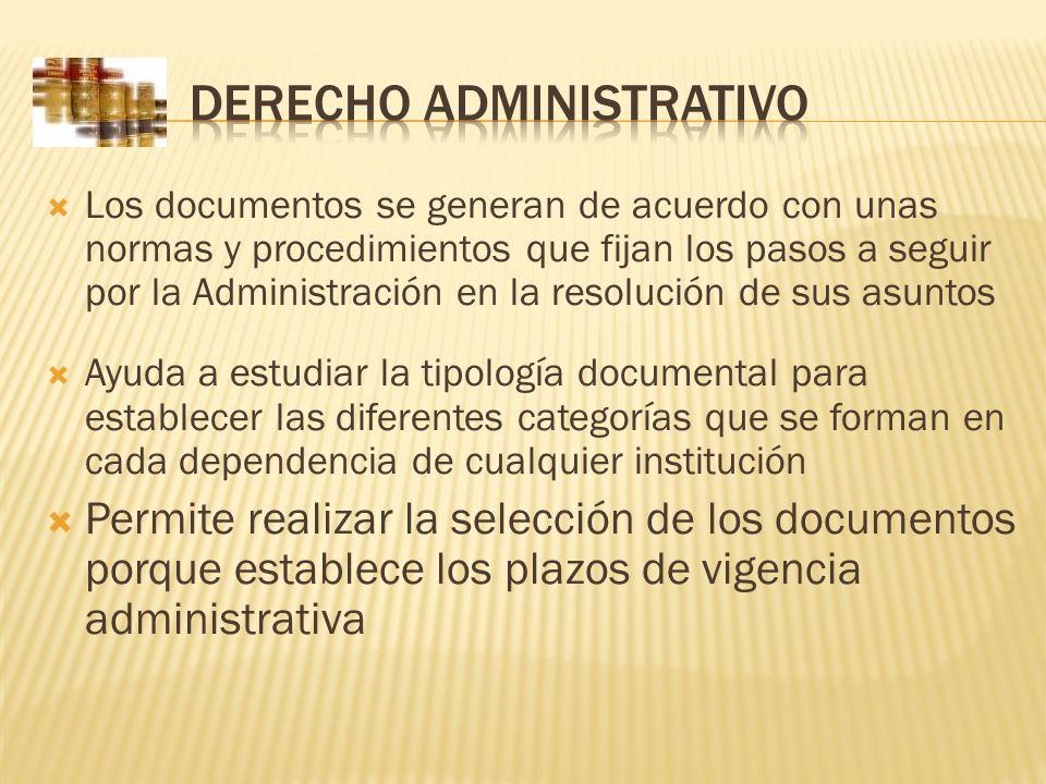 Los documentos se generan de acuerdo con unas normas y procedimientos que fijan los pasos a seguir por la Administración en la resolución de sus asunt
