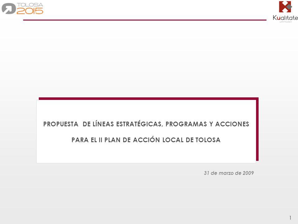 32 Introducción Tolosa cuenta con varios planes municipales, que a su vez cuentan con múltiples líneas y programas susceptibles de ser incluidos en el PAL II.