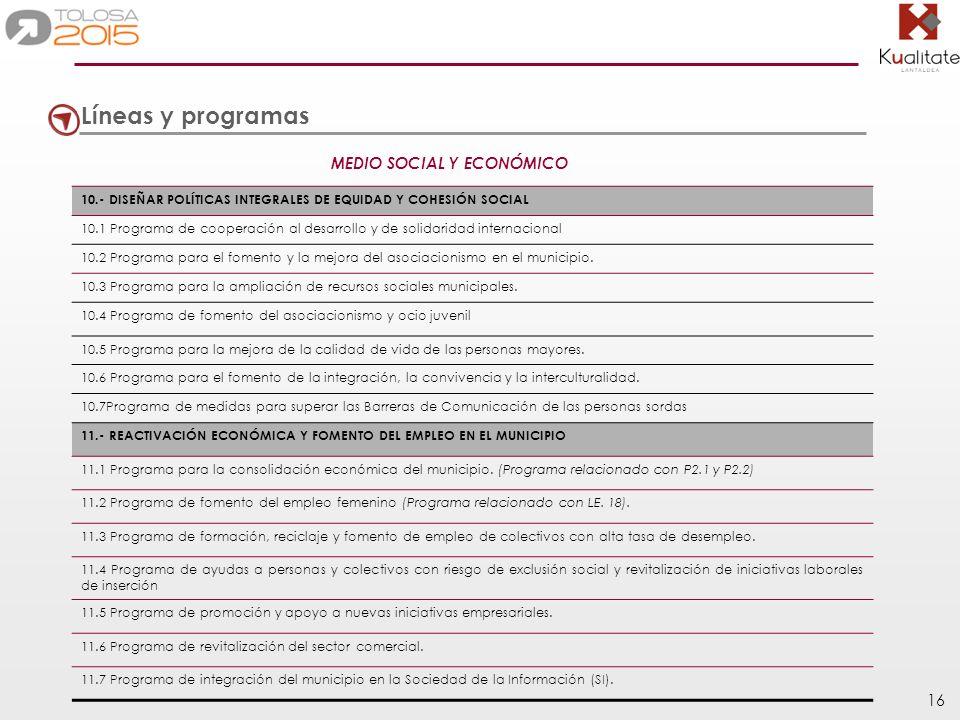 16 10.- DISEÑAR POLÍTICAS INTEGRALES DE EQUIDAD Y COHESIÓN SOCIAL 10.1 Programa de cooperación al desarrollo y de solidaridad internacional 10.2 Progr