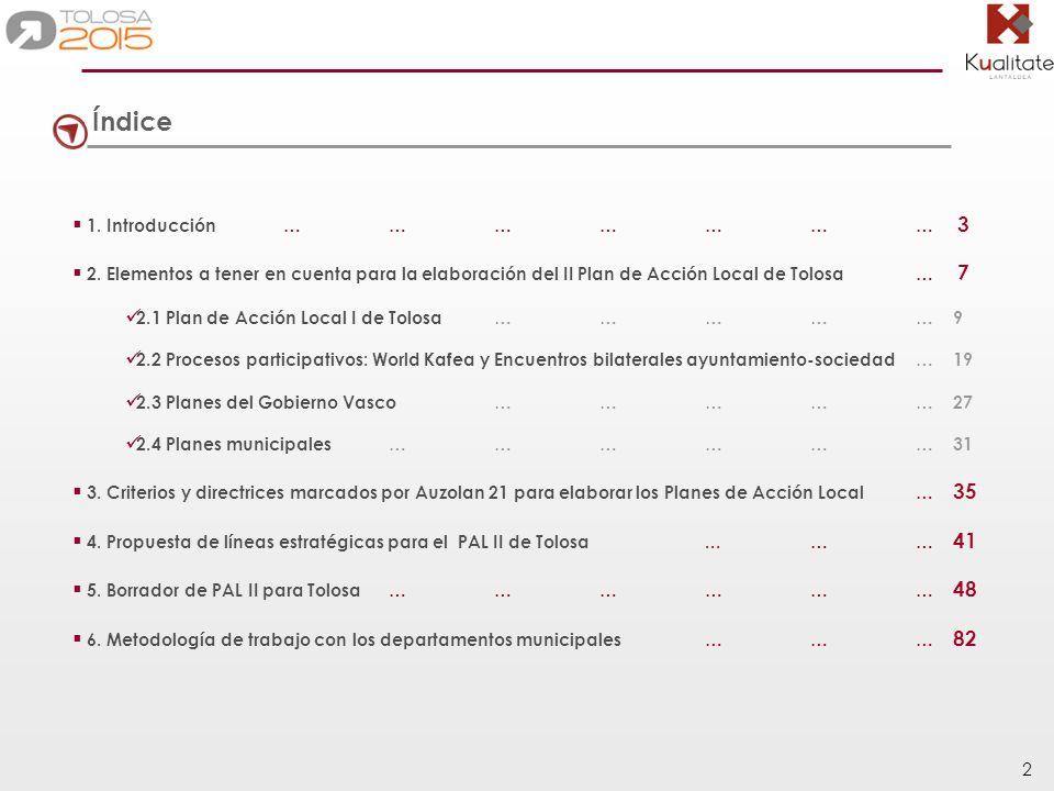 83 Metodología A partir de la propuesta de PAL II de Tolosa, los departamentos del ayuntamiento deberán trabajar sobre aquellas líneas más afines a sus objetivos, con el objetivo de configurar las líneas estratégicas, programas y acciones definitivas que configurarán el II Plan de Acción Local de Tolosa.