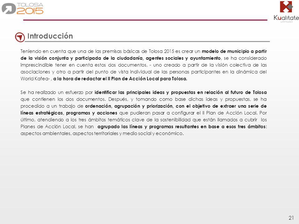 21 Introducción Teniendo en cuenta que una de las premisas básicas de Tolosa 2015 es crear un modelo de municipio a partir de la visión conjunta y par