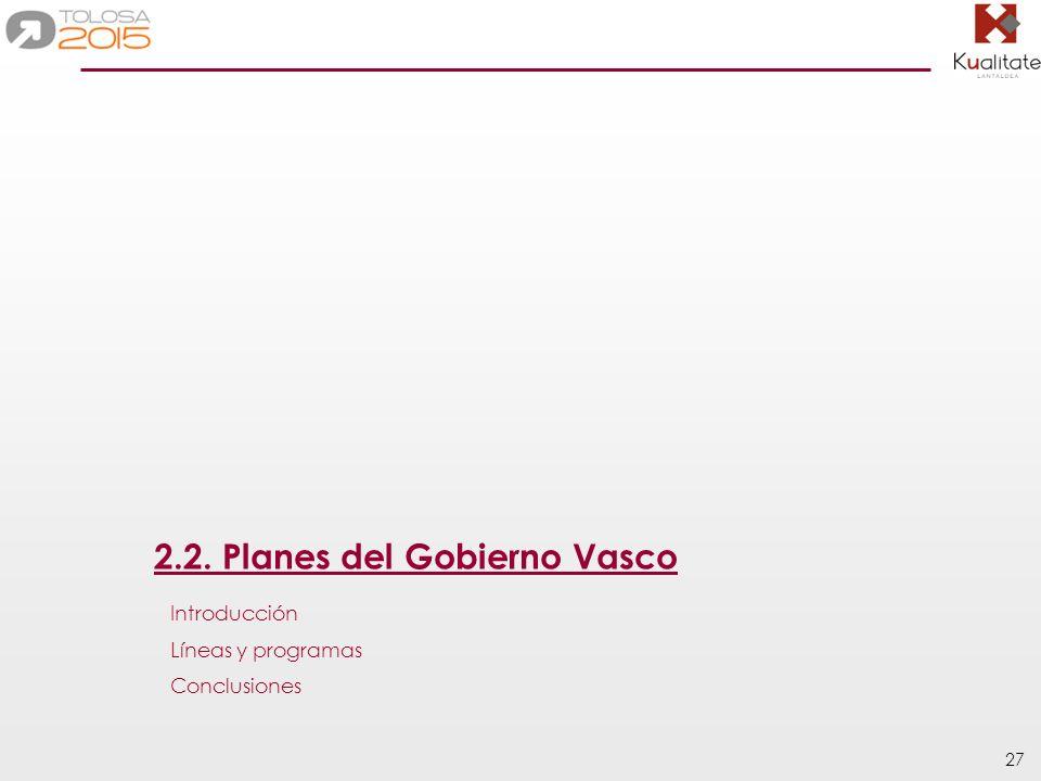27 2.2. Planes del Gobierno Vasco Introducción Líneas y programas Conclusiones