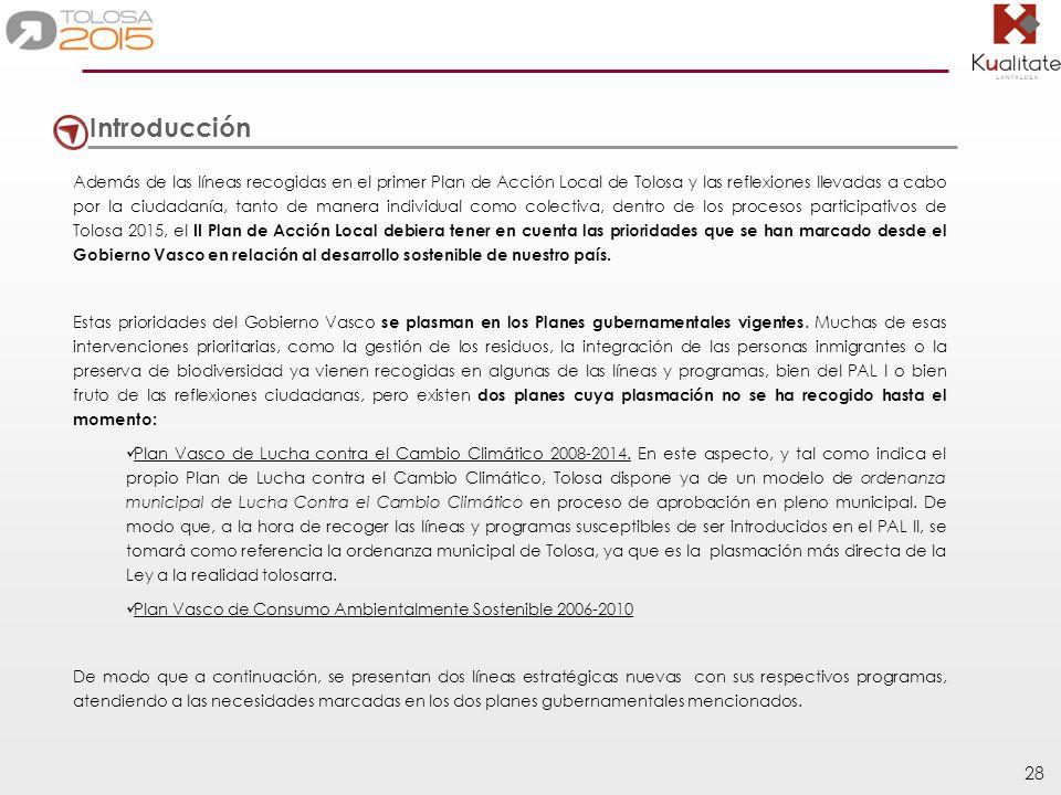 28 Introducción Además de las líneas recogidas en el primer Plan de Acción Local de Tolosa y las reflexiones llevadas a cabo por la ciudadanía, tanto