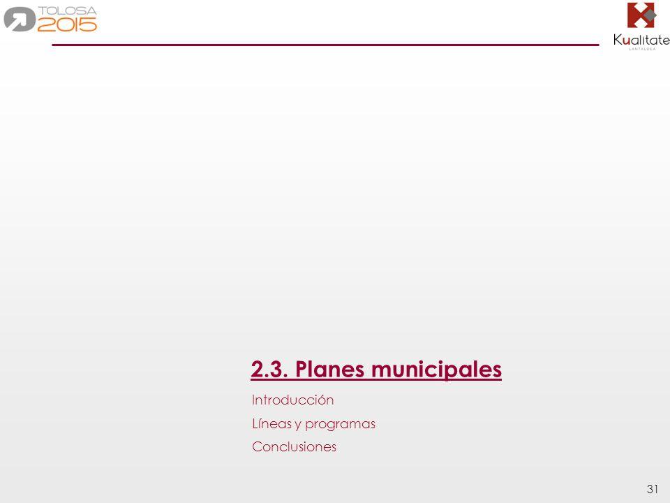 31 2.3. Planes municipales Introducción Líneas y programas Conclusiones