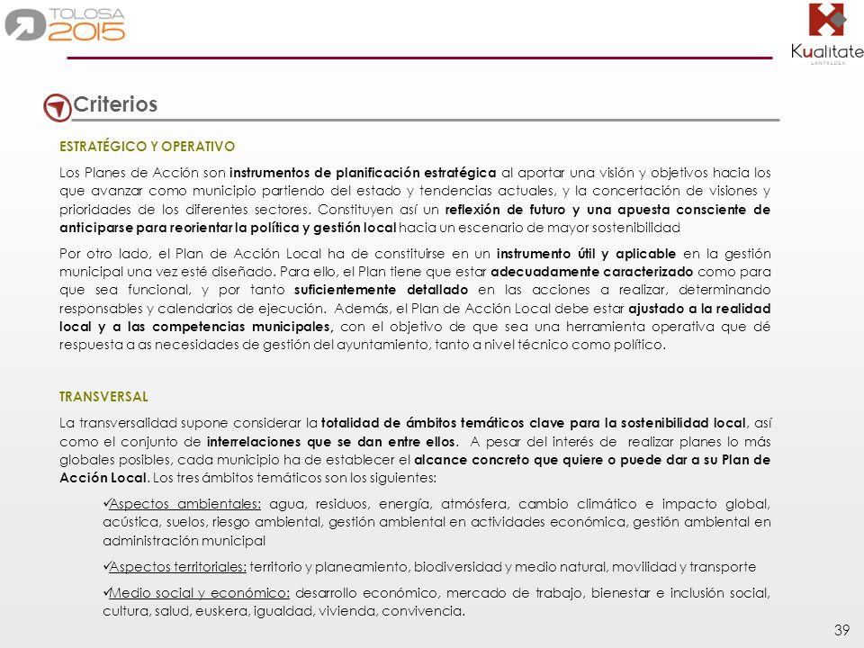 39 Criterios ESTRATÉGICO Y OPERATIVO Los Planes de Acción son instrumentos de planificación estratégica al aportar una visión y objetivos hacia los qu
