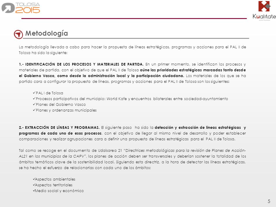 5 Metodología La metodología llevada a cabo para hacer la propuesta de líneas estratégicas, programas y acciones para el PAL II de Tolosa ha sido la s