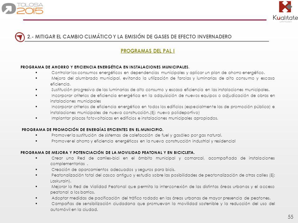 55 2.- MITIGAR EL CAMBIO CLIMÁTICO Y LA EMISIÓN DE GASES DE EFECTO INVERNADERO PROGRAMAS DEL PAL I PROGRAMA DE AHORRO Y EFICIENCIA ENERGÉTICA EN INSTA