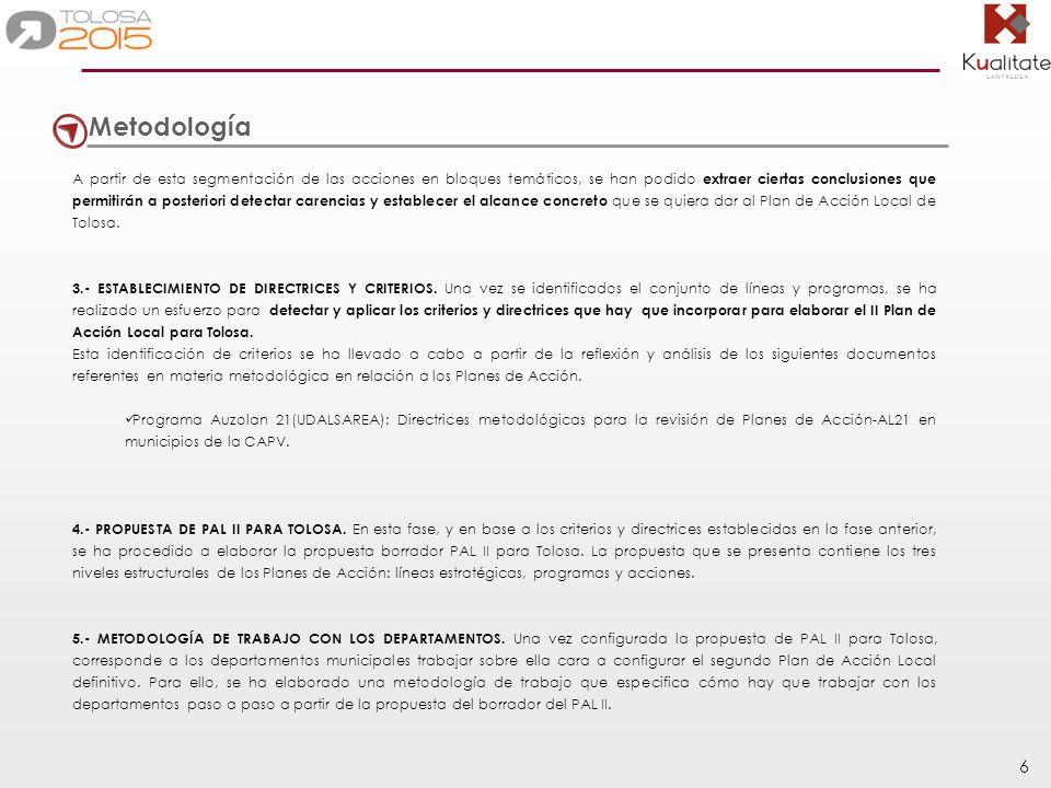 17 15.- FORTALECER E IMPULSAR EL ÁMBITO DE LA CULTURA 15.1 Programa para fortalecer la oferta cultural de Tolosa y su imagen de ciudad cultural (Programa relacionado con P9.3).