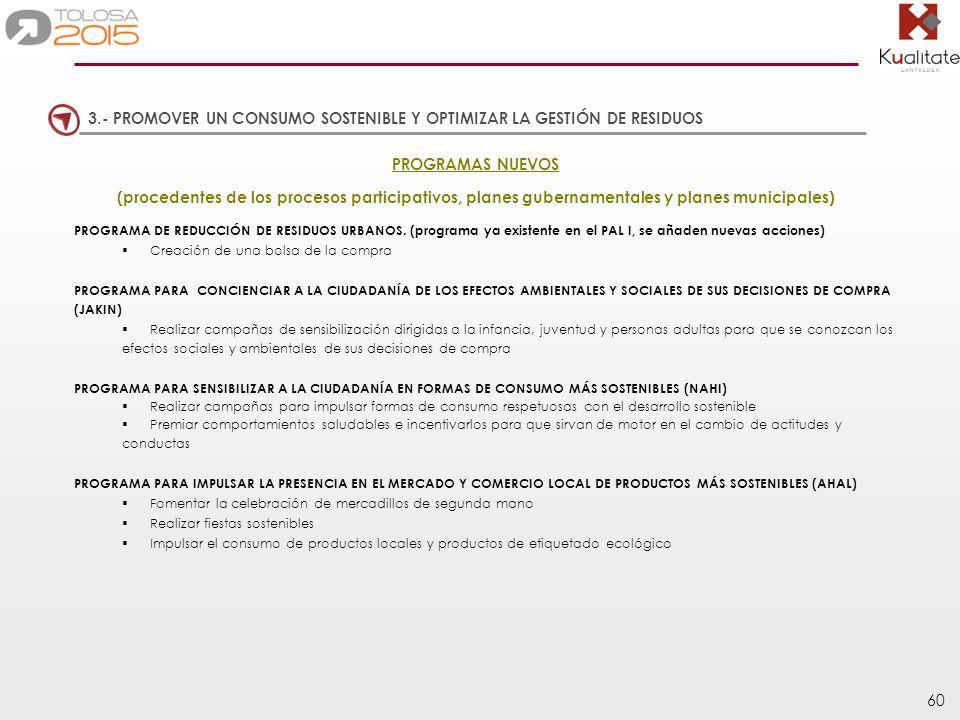 60 PROGRAMAS NUEVOS (procedentes de los procesos participativos, planes gubernamentales y planes municipales) PROGRAMA DE REDUCCIÓN DE RESIDUOS URBANO