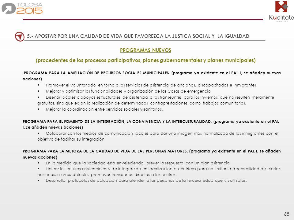 68 PROGRAMAS NUEVOS (procedentes de los procesos participativos, planes gubernamentales y planes municipales) PROGRAMA PARA LA AMPLIACIÓN DE RECURSOS