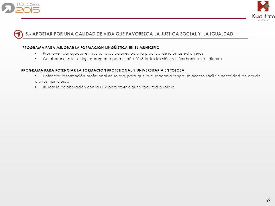 69 PROGRAMA PARA MEJORAR LA FORMACIÓN LINGÜÍSTICA EN EL MUNICIPIO Promover, dar ayudas e impulsar asociaciones para la práctica de idiomas extranjeros