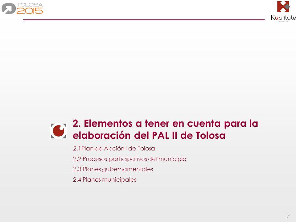 18 Conclusiones En total, el PAL I de Tolosa contiene 18 líneas estratégicas y 71 programas de actuación, divididos de la siguiente manera: Líneas estratégicasProgramas Aspectos ambientales 8 44.4% 30 43% Aspectos territoriales 4 22.2% 19 26.5% Medio social y económico 6 33.3% 22 30.5% TOTAL18 100% 71 100% Tal como se aprecia en la tabla, el PAL I de Tolosa tiene una carácter mayoritariamente ambiental : casi la mitad de las líneas y programas pertenecen al ámbito temático de aspectos ambientales.