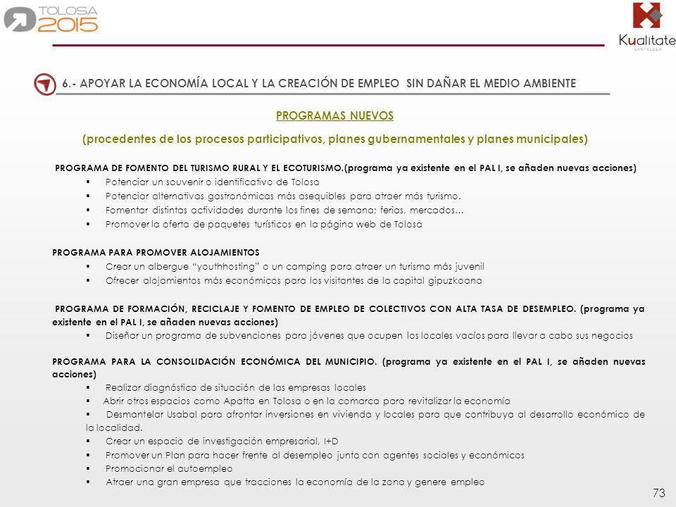 73 PROGRAMAS NUEVOS (procedentes de los procesos participativos, planes gubernamentales y planes municipales) PROGRAMA DE FOMENTO DEL TURISMO RURAL Y