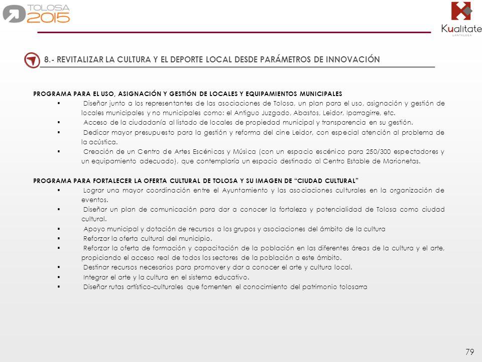 79 PROGRAMA PARA EL USO, ASIGNACIÓN Y GESTIÓN DE LOCALES Y EQUIPAMIENTOS MUNICIPALES Diseñar junto a los representantes de las asociaciones de Tolosa,