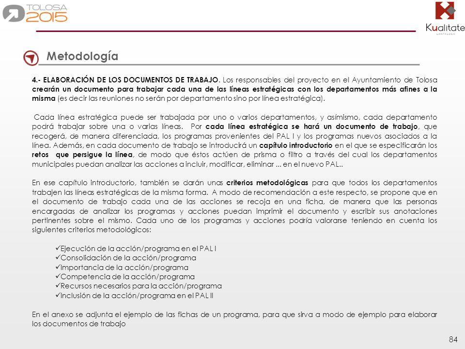 84 Metodología 4.- ELABORACIÓN DE LOS DOCUMENTOS DE TRABAJO. Los responsables del proyecto en el Ayuntamiento de Tolosa crearán un documento para trab