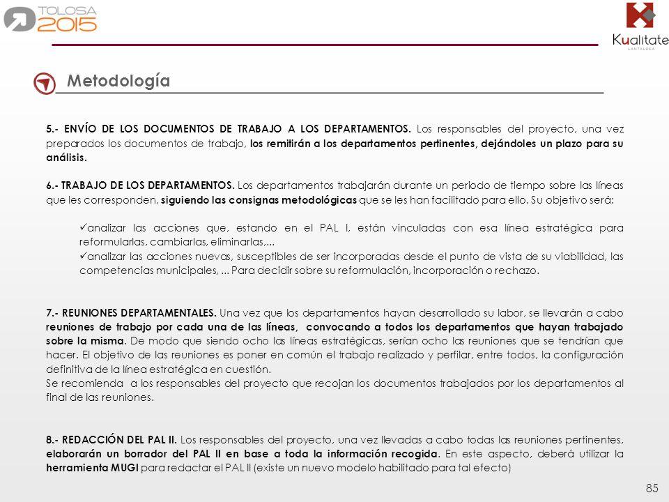 85 Metodología 5.- ENVÍO DE LOS DOCUMENTOS DE TRABAJO A LOS DEPARTAMENTOS. Los responsables del proyecto, una vez preparados los documentos de trabajo