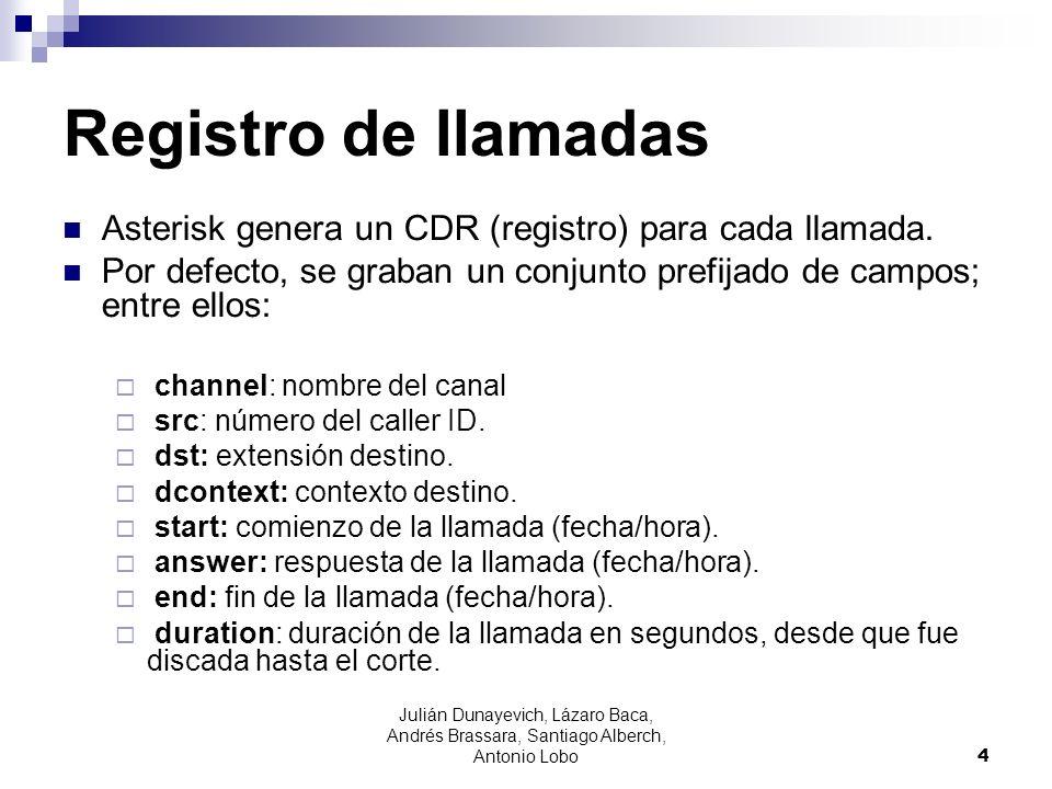 Registro de llamadas Asterisk genera un CDR (registro) para cada llamada. Por defecto, se graban un conjunto prefijado de campos; entre ellos: channel