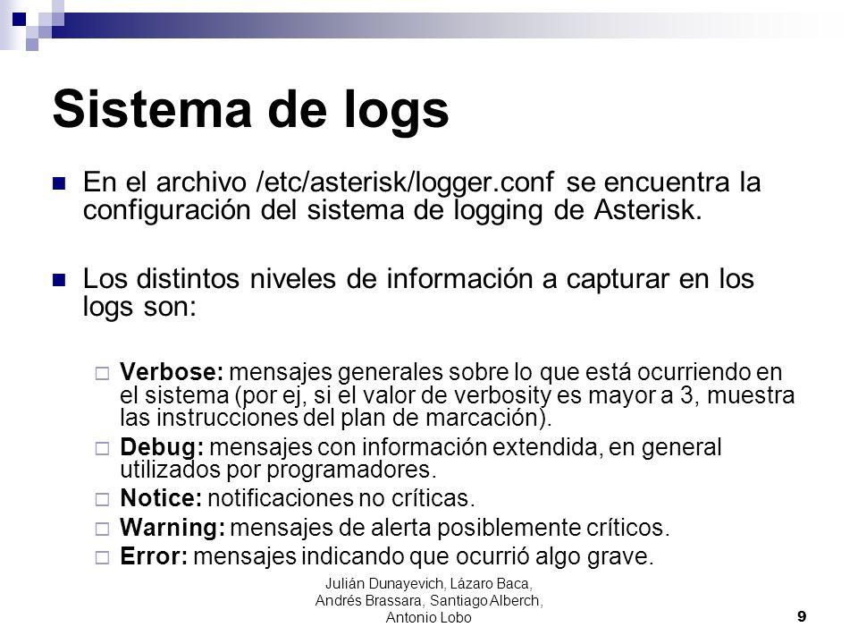 Sistema de logs En el contexto [logfiles] del archivo logger.conf se indican los archivos y mensajes a loguear en c/u, la sintaxis es: archivo => nivel1,...,niveln Los archivos de log se crean por defecto en /var/log/asterisk/ (esto se puede cambiar /etc/asterisk/asterisk.conf).
