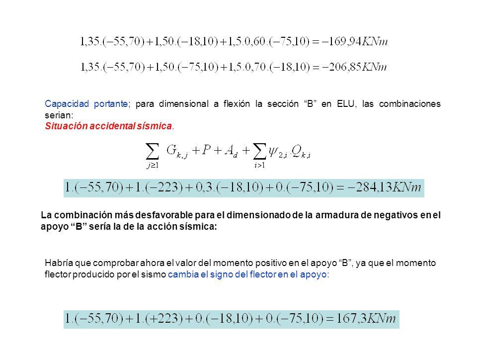 Capacidad portante; para dimensional a flexión la sección B en ELU, las combinaciones serian: Situación accidental sísmica. La combinación más desfavo
