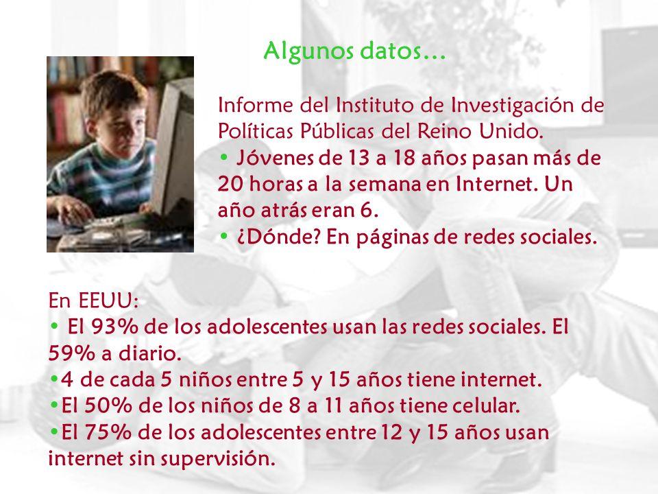 Algunos datos… 65% entre 12 y 17 años tienen un perfil en red social.