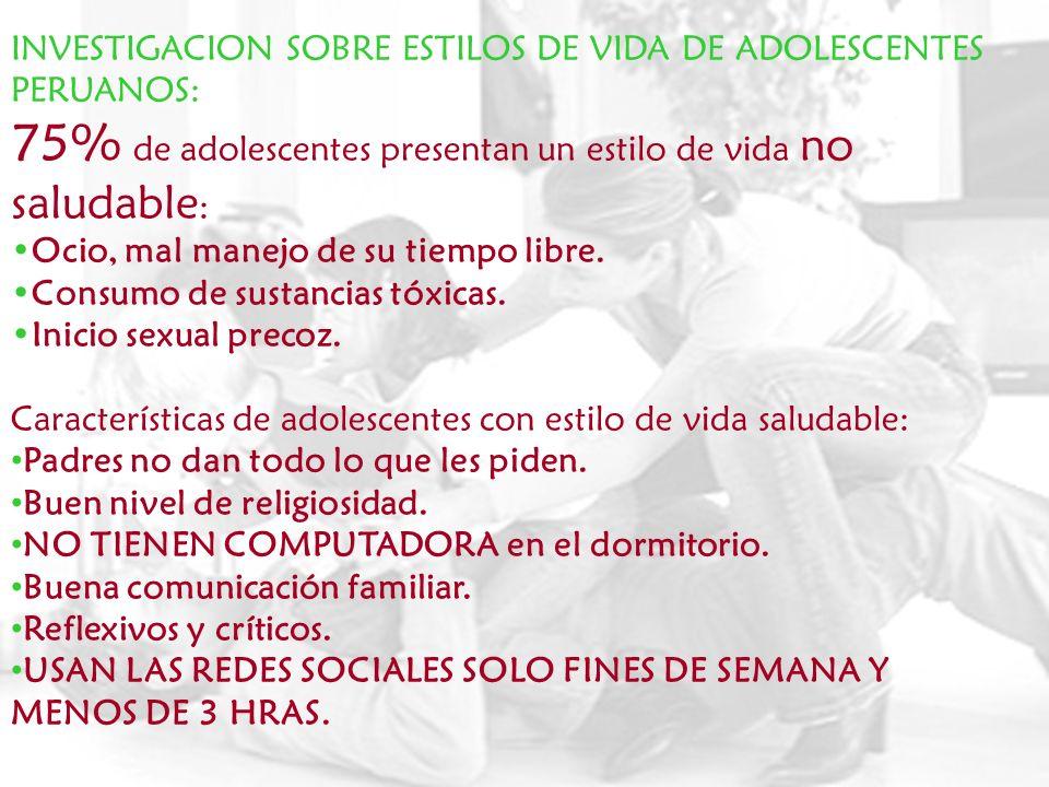 INVESTIGACION SOBRE ESTILOS DE VIDA DE ADOLESCENTES PERUANOS: 75% de adolescentes presentan un estilo de vida no saludable : Ocio, mal manejo de su ti