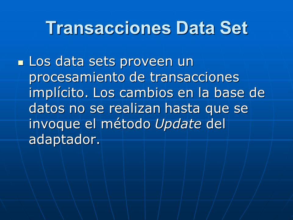 Transacciones Data Set Los data sets proveen un procesamiento de transacciones implícito.