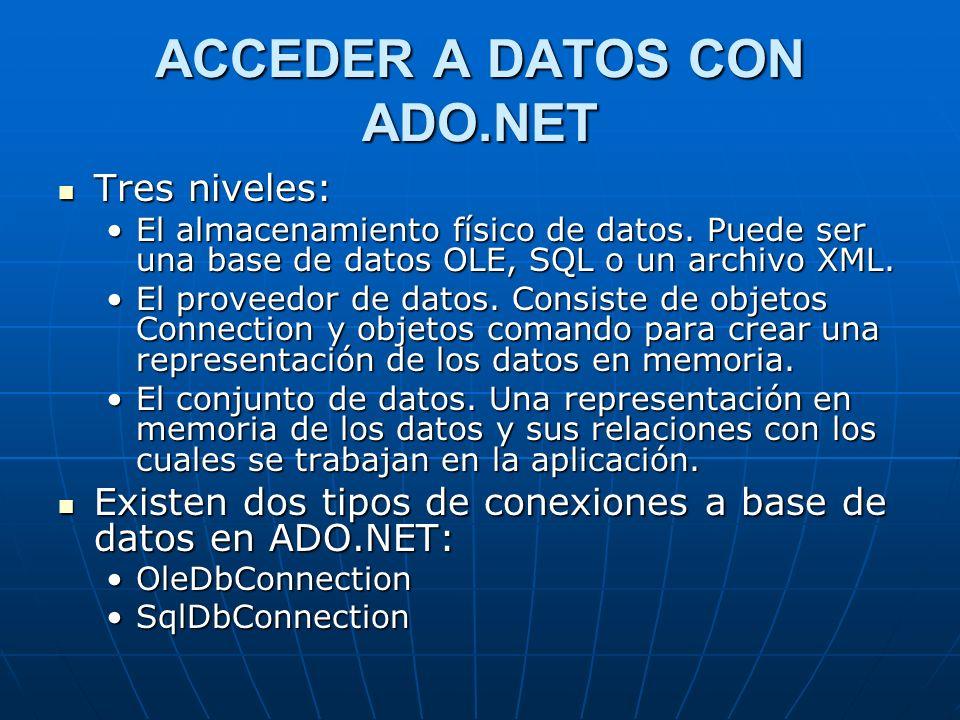 Conectarse a una Base de Datos 1.Del menú View, escoja Server Explorer.