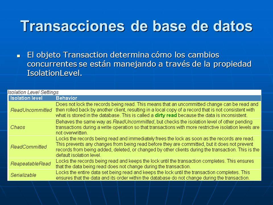 Transacciones de base de datos El objeto Transaction determina cómo los cambios concurrentes se están manejando a través de la propiedad IsolationLevel.