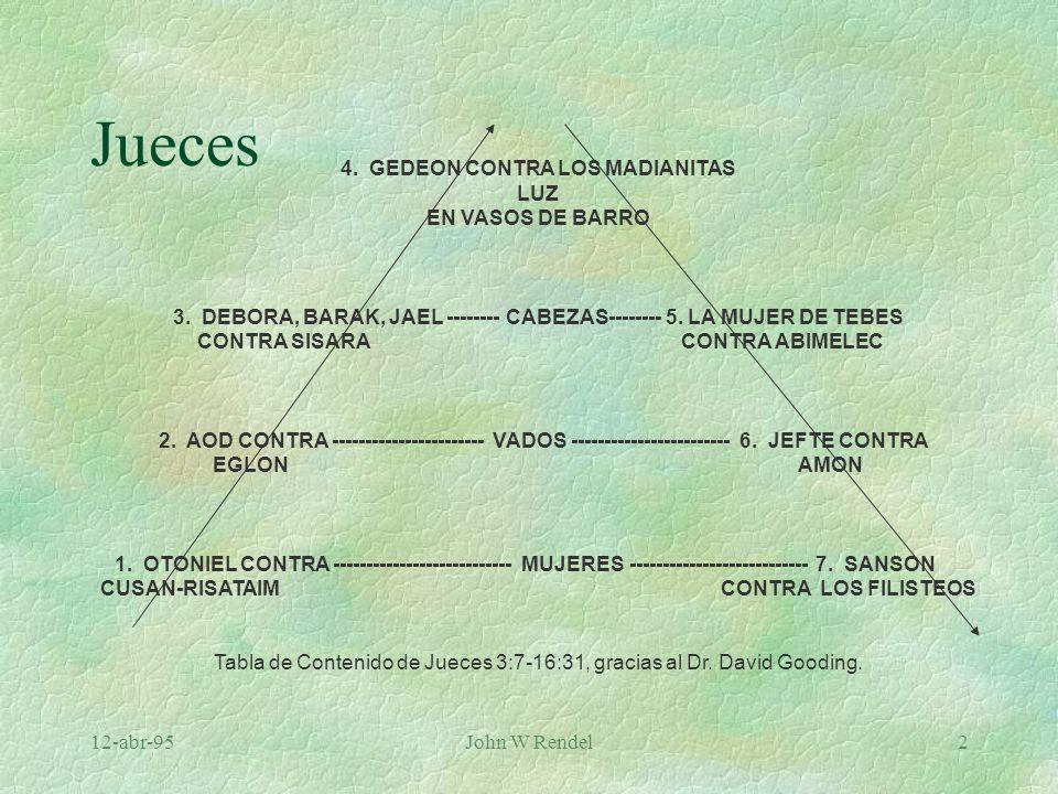 12-abr-95John W Rendel2 4. GEDEON CONTRA LOS MADIANITAS LUZ EN VASOS DE BARRO 3. DEBORA, BARAK, JAEL -------- CABEZAS-------- 5. LA MUJER DE TEBES CON