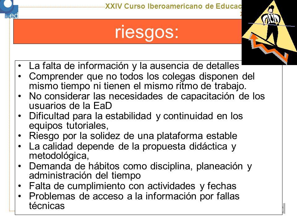 XXIV Curso Iberoamericano de Educación a Distancia X edición uned Recomendaciones Promoción de una Política Nacional Gubernamental Implementar controles de calidad en programas de esta modalidad Incrementar el uso de las tecnologías en nuestros países y organizaciones Implementar sistema de coordinación para el desarrollo de este tipo de programas Difusión de la EaD