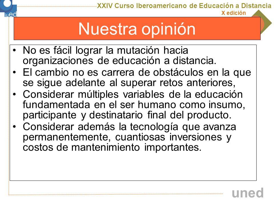 XXIV Curso Iberoamericano de Educación a Distancia X edición uned Nuestra opinión No se puede esperar que todos los objetivos y barreras se superen al iniciar la gestión de un proyecto de EaD.