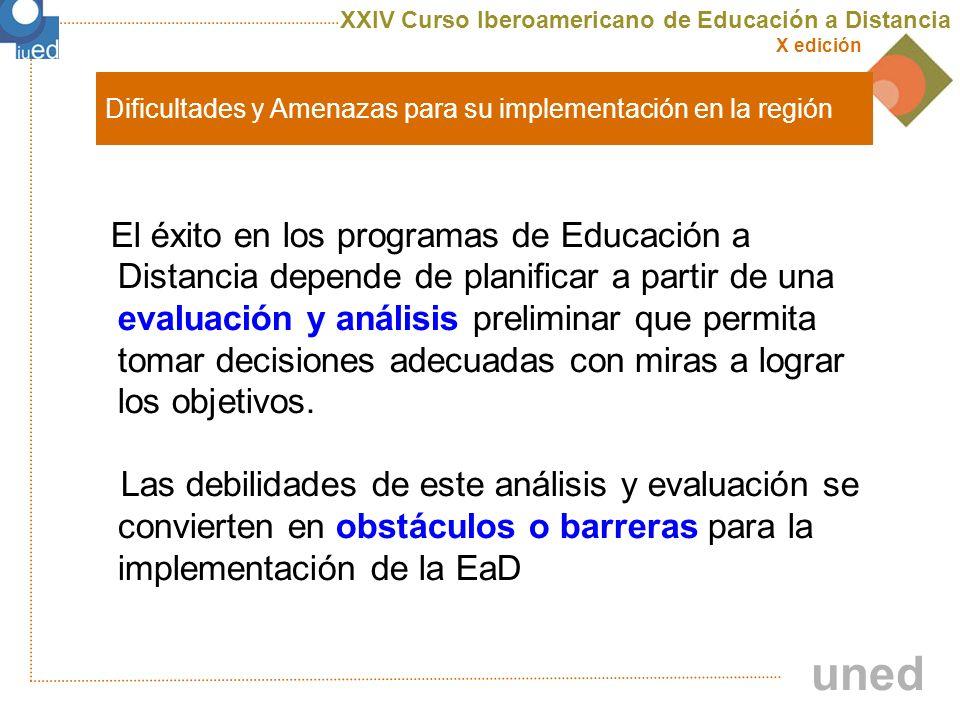 XXIV Curso Iberoamericano de Educación a Distancia X edición uned Dificultades y Amenazas para su implementación en la región Obtendrá una visión integral orientando su análisis en dos direcciones: evaluando su entorno y evaluándose a si misma.