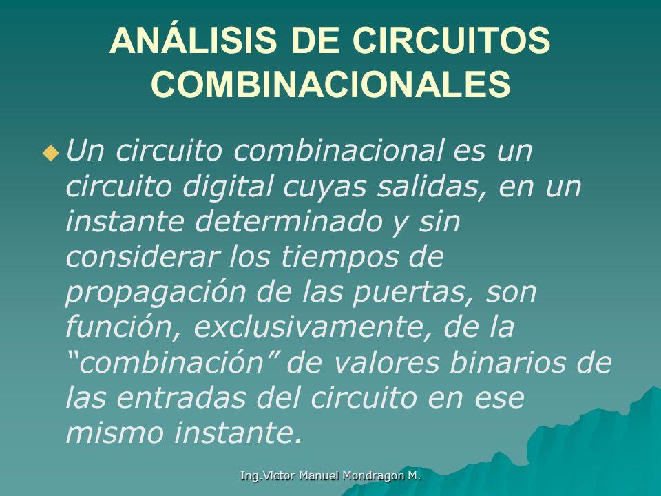 Ing.Victor Manuel Mondragon M. ANÁLISIS DE CIRCUITOS COMBINACIONALES Un circuito combinacional es un circuito digital cuyas salidas, en un instante de