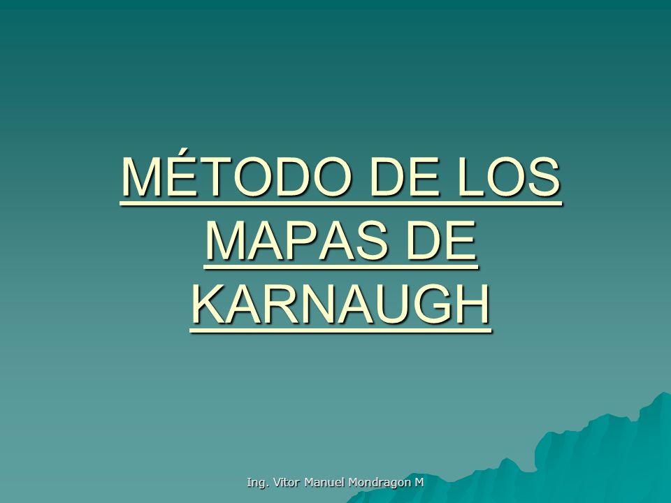 Ing. Vitor Manuel Mondragon M MÉTODO DE LOS MAPAS DE KARNAUGH