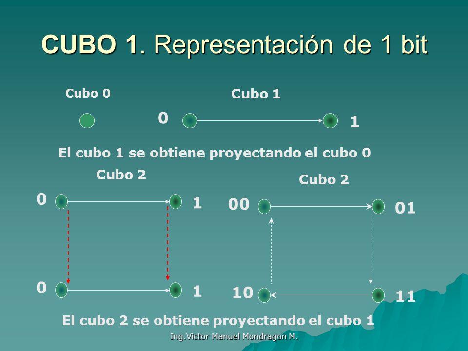 Ing.Victor Manuel Mondragon M. CUBO 1. Representación de 1 bit Cubo 0 Cubo 1 El cubo 1 se obtiene proyectando el cubo 0 0 1 Cubo 2 0 1 0 1 00 01 10 11