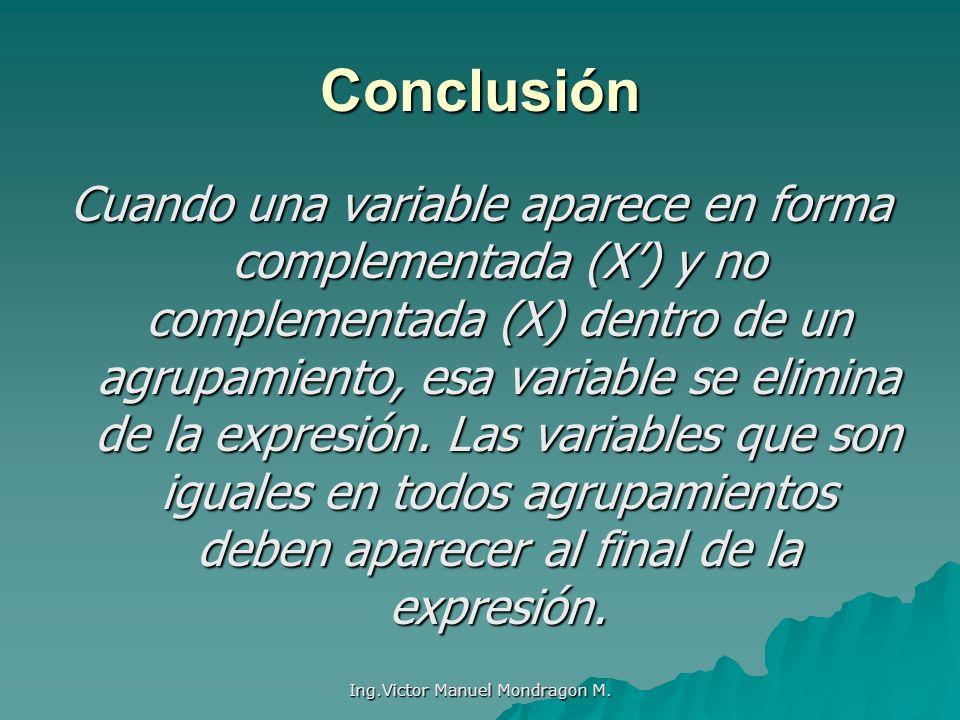 Ing.Victor Manuel Mondragon M. Cuando una variable aparece en forma complementada (X) y no complementada (X) dentro de un agrupamiento, esa variable s