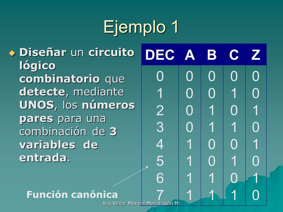 Ing.Victor Manuel Mondragon M. Ejemplo 1 Diseñar un circuito lógico combinatorio que detecte, mediante UNOS, los números pares para una combinación de