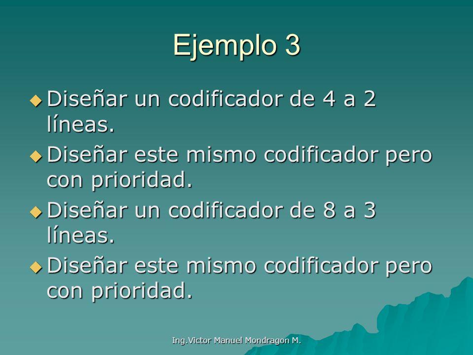Ejemplo 3 Diseñar un codificador de 4 a 2 líneas. Diseñar un codificador de 4 a 2 líneas. Diseñar este mismo codificador pero con prioridad. Diseñar e