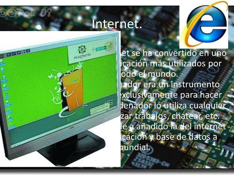 Internet. En los últimos años Internet se ha convertido en uno de los medios de comunicación más utilizados por personas de todo el mundo. Hace unos a