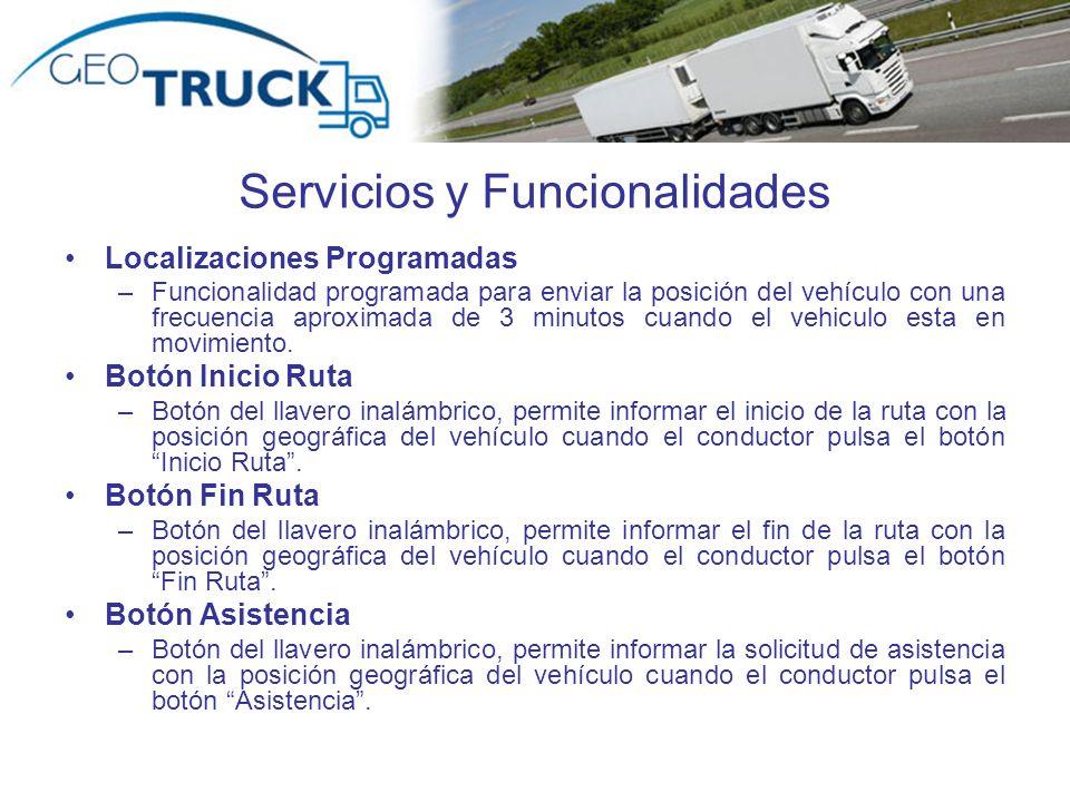 Autor: Rodrigo Valdebenito Servicios y Funcionalidades Localizaciones Programadas –Funcionalidad programada para enviar la posición del vehículo con una frecuencia aproximada de 3 minutos cuando el vehiculo esta en movimiento.
