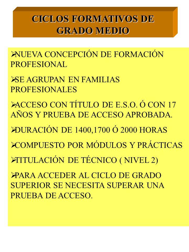 CICLOS FORMATIVOS DE GRADO MEDIO NUEVA CONCEPCIÓN DE FORMACIÓN PROFESIONAL SE AGRUPAN EN FAMILIAS PROFESIONALES ACCESO CON TÍTULO DE E.S.O. Ó CON 17 A
