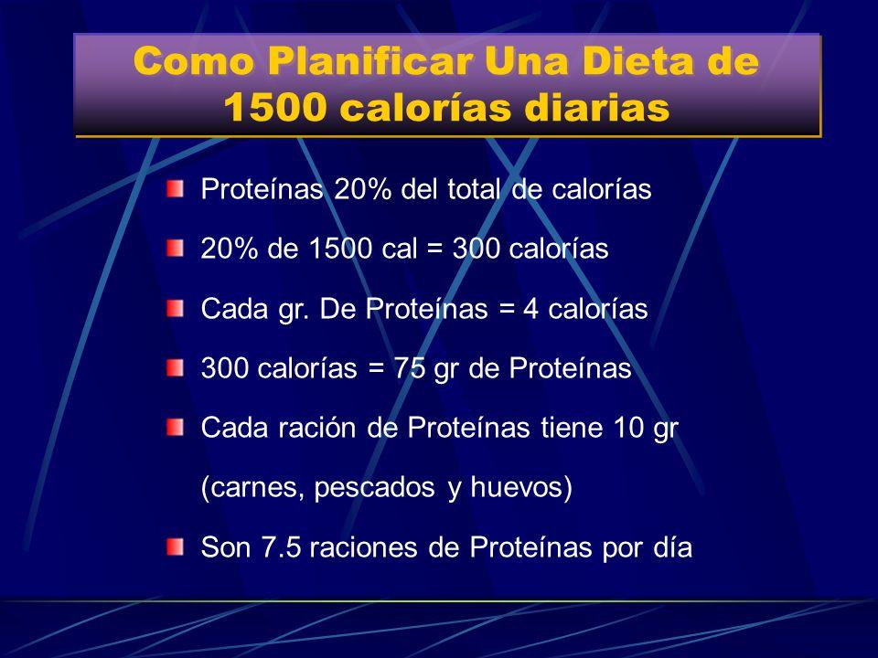 Como Planificar Una Dieta de 1500 calorías diarias Hidratos de Carbono 50% del total de calorías 50% de 1500 cal = 750 calorías Cada gr. De HdC = 4 ca
