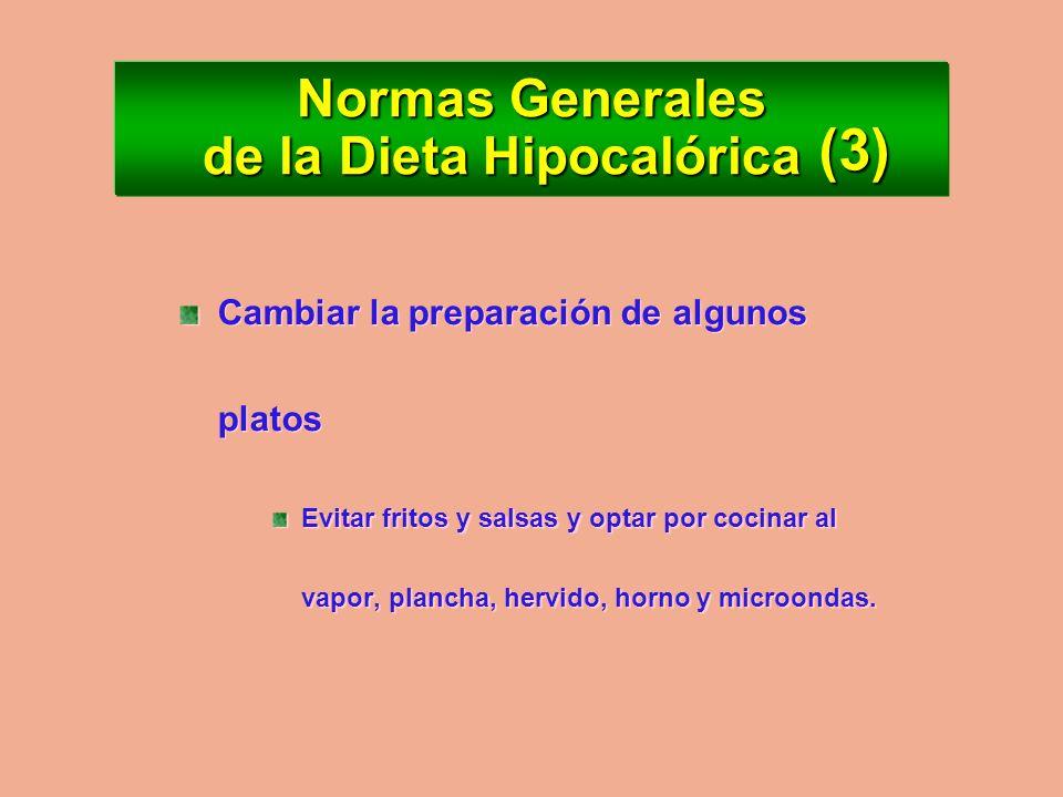 Normas Generales de la Dieta Hipocalórica Reducir más las grasas que otros alimentos: Aceites, manteca, embutidos, quesos, crema, etc. Reducir más las