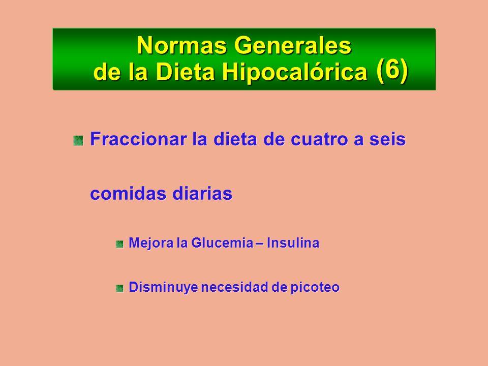Normas Generales de la Dieta Hipocalórica Ingerir agua y bebidas no calóricas en abundancia Sensación de plenitud gástrica Disminuye el picoteo Ingeri