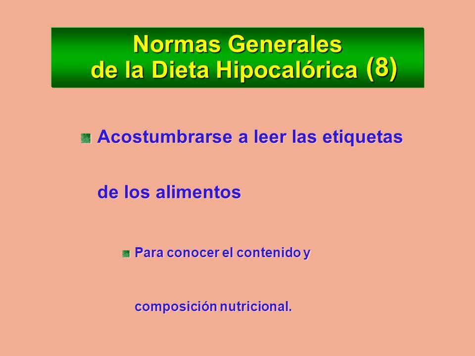 Normas Generales de la Dieta Hipocalórica Evitar alcohol: Calorías vacías Fija las grasas Evitar alcohol: Calorías vacías Fija las grasas (7)