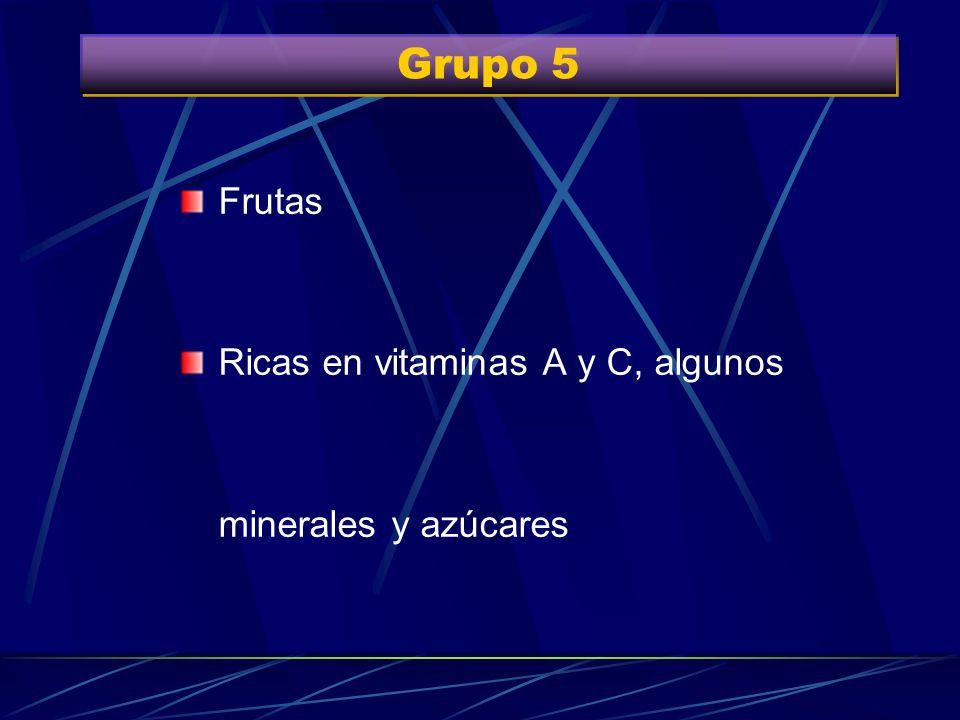 Grupo 4 Verduras (brotes y hojas). Hortalizas (plantas comestibles de la huerta) Muy ricas en vitaminas A y C. Cantidad variable de fibras