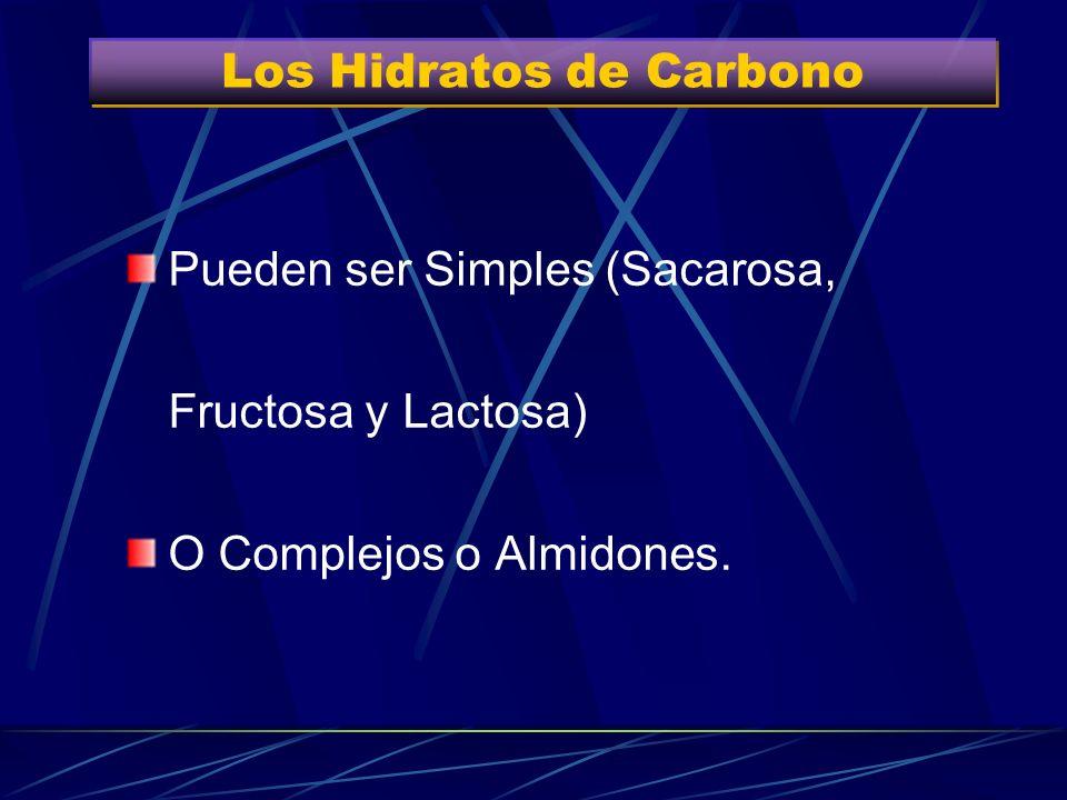Entre el 50-60% del Total H de C complejos (ricos en almidones y fibras) Pan, arroz, pastas, verduras, hortalizas, frutas y legumbres Entre el 50-60%