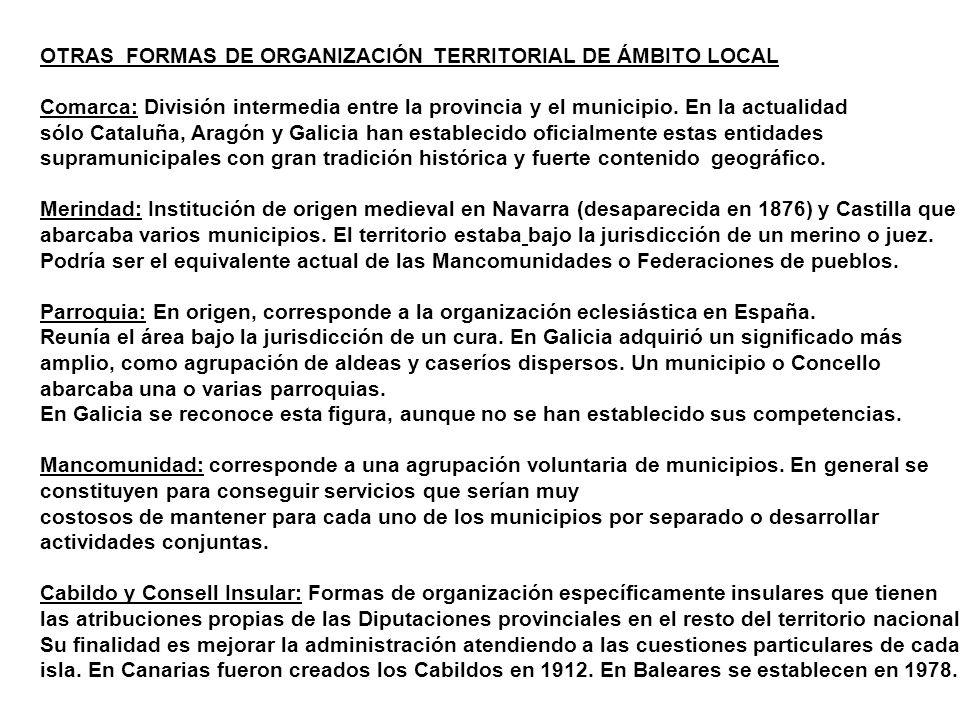 OTRAS FORMAS DE ORGANIZACIÓN TERRITORIAL DE ÁMBITO LOCAL Comarca: División intermedia entre la provincia y el municipio. En la actualidad sólo Cataluñ
