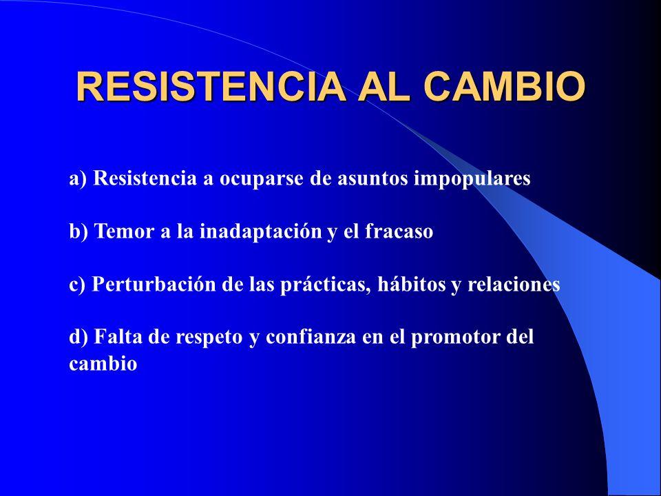 RESISTENCIA AL CAMBIO a) Falta de convicción de que el cambio es necesario b) Aversión al cambio impuesto c) Aversión a las sorpresas d) Temor a lo de